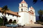 Santa Barbara Mission, building, parked cars, 1950s, CSCV05P01_06