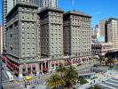 Saint Francis Hotel, Union Square, buildings, taxi cab, bus, downtown, downtown-SF, June 2005, CSFD04_086