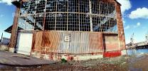 Panorama, Warehouse in Dogpatch, rusty walls, garage doors, spooky, erie, scary, CSFV11P11_06