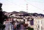 Sutro Tower, homes, buildings, hill, Twin Peaks, CSFV13P06_18