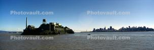 San Francisco Oakland Bay Bridge, Alcatraz Island, skyline, buildings, Panorama, CSFV18P05_15