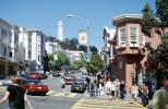 Columbus Avenue, North-Beach, Coit Tower, Crosswalk, Cars, automobile, vehicles, CSFV20P14_06