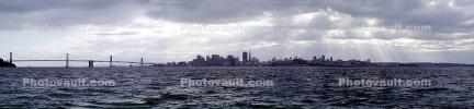 San Francisco Oakland Bay Bridge, Cityscape, skyline, buildings, clouds, water, Panorama, CSFV21P04_19B