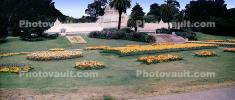 flowers, garden, lawn, trees, Conservatory Of Flowers, Panorama, early 1950's, 1950's