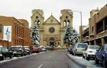 cars, ice, snow, street, Cathedral Basilica of St. Francis of Assisi, St. Francis Cathedral, Santa-Fe