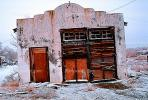 door, dilapitated, old, decaying, decay, building, snow, ice, cold, north of Walker Lake