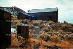 Creosote bush, desert shrub, buildings, hillside, barn, outhouse, shack, CSNV02P10_08.1744