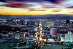 The Strip, Twilight, Dusk, Dawn, Cityscape, Skyline, buildings, casinos, hotels