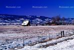 Home, House, fence, rural, snowy fields, ice, cold, mountains, barn, Del Norte, CSOV01P07_07