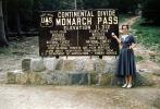 Monarch Pass, Continental Divide, sign, signage, woman, 1950's