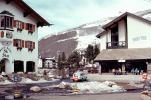 Buildings, sidewalk cafe, car, Vail, Ski Resort, February 1972, 1970s, CSOV02P11_15