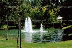 Water Fountain, aquatics, pond, trees