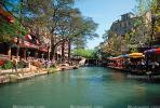 River, Restaurants, trees, water, building, Paseo del Rio, the Riverwalk, San Antonio, CTXV02P05_07.1747