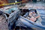 Bricks, Crushed Car, south of Market, SOMA, Loma Prieta Earthquake (1989), 1980s, DAEV01P06_08.0169