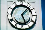 The Clock Stops at the moment of the Earthquake, Loma Prieta Earthquake, (1989), 1980s, outdoor clock, outside, exterior, building, roman numerals, DAEV01P09_01