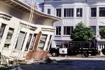 Police Truck, Collapsed Home, Marina district, Loma Prieta Earthquake (1989), 1980s, DAEV01P11_15