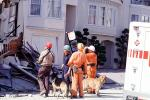 Rescuers, Dogs, German Shepard, Marina district, Loma Prieta Earthquake (1989), 1980s, DAEV01P14_11