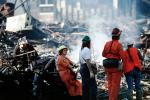 Burned out Homes, Marina Fire, Rescuers, Marina district, Loma Prieta Earthquake, (1989), 1980s, DAEV01P15_10