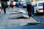 Sidewalk in Upheaval, Curb, Marina district, Loma Prieta Earthquake (1989), 1980s, DAEV02P02_01