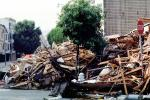Rubble, Stop Sign, Fillmore Street, Marina district, Loma Prieta Earthquake (1989), detritus, 1980s, DAEV02P07_05