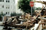 Rubble, Stop Sign, Fillmore Street, Marina district, Loma Prieta Earthquake (1989), detritus, 1980s, DAEV02P07_06