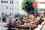 Rubble, Stop Sign, Fillmore Street, Marina district, Loma Prieta Earthquake (1989), detritus, 1980s, DAEV02P07_07