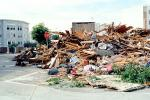 detritus, rubble, Stop Sign, Fillmore Street, Marina district, Loma Prieta Earthquake (1989), 1980s