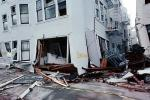 Sidewalk in Upheaval, Garage Doors, Fillmore Street, Marina district, Loma Prieta Earthquake (1989), 1980s, DAEV02P08_02