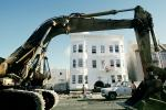 Destroyed Buildings, Tractor, Marina district, Loma Prieta Earthquake (1989), 1980's