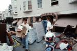 Destroyed Buildings, Clearing Debris, Marina district, mattress, boxes, Loma Prieta Earthquake (1989), 1980's