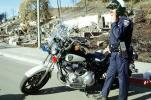 Motorcycle Policeman, Homes, Residential House, Hills, Charred, police, Great Oakland Fire, California, DAFV04P06_09