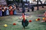 Dancers, Guitar Players, Women, grass skirts, lei, Ethnic Costume, natives, Hula, Hawaiian, March 1964, 1960s, EDAV03P10_08
