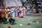 Dancers, Guitar Players, Women, grass skirts, lei, Ethnic Costume, natives, Hula, Hawaiian, March 1964, 1960s, EDAV03P10_09
