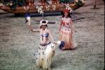 Women, grass skirts, lei, Hawaiian, Ethnic Costume, natives, Hula, March 1964, 1960s, EDAV03P10_13