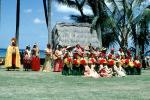 Hawaiian, Hula, ethnic costume, grass hut, palm trees, July 1963, 1960's, EDAV04P07_01