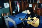 Teenagers, Guitar, singing, beds, cabin, May 1973, 1970s