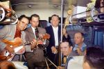 Bamd. String Bass, Guitar, Clarinet, playing in a bus, 1955, 1950's, EMNV01P01_15