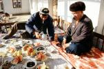 Men, eating, food, watermelon, sitting, Samarkand