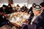 Men, eating, food, sitting, Samarkand