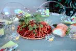 Crawdads, Crayfish, Table Setting, Bread, Glasses, Dill, Bread, FDNV01P02_05.0838