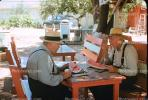 Men, Male, Watermelons, Table, Outdoors, Outside, hats, suspenders, 1940s