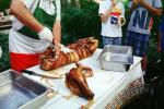 Pig Head, Decapitated, Knife, Meat, White Meat, Tray, Tablecloth, Roasted Pig, Roast, FDNV02P02_18