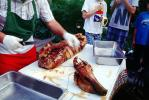 Head Chopped Off, Pig Head, Carving, Chef, Decapitated, Knife, Meat, White Meat, Tray, Tablecloth, Roasted Pig, Roast, FDNV02P02_19