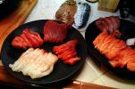 sushi, sashimi, plates, platters, raw, seafood, FDNV02P06_03