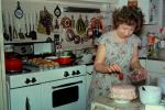 Woman Baking a Cake, Birthday, Stove, Utensils, Kitchen, Cupcakes, June 1973, 1970s