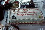 Graduation Cake, Denny and Danny, frosting, US Navy, Anchor, SeaBee's, 1960s