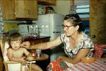 Mother Feeding Daughter, Hair Curlers, Haircurlers, hair roller, hairrollers, lockenwickler, highchair, 1950s, FDNV02P07_04