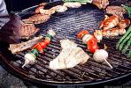 Meat, Steak, Hot Dogs, Vegetables, Shish-Ka-Bob,, Salmon, BBQ, Barbecue, Kentucky Derby Party, FDNV02P08_19