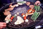 Meat, Steak, Hot Dogs, Vegetables, Shish-Ka-Bob,, Salmon, BBQ, Barbecue, Kentucky Derby Party, FDNV02P09_01