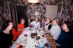 Family, Dinner Party, Table Setting, women, men, wallpaper, 1950's, FDNV02P12_12